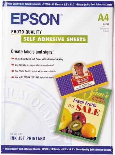 Papier Epson samoprzylepny Photo Quality Paper self-adhesive A4 167 g/m2 S041106