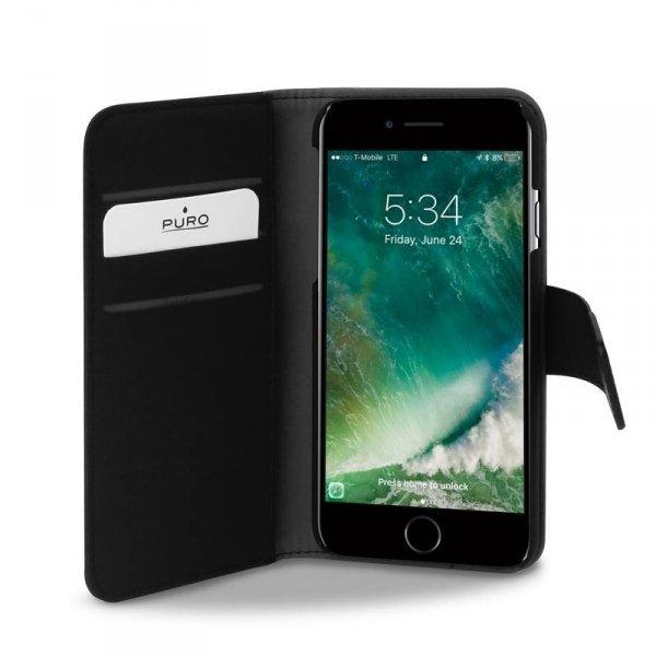 PURO Etui Wallet Detachable 2w1 iPhone 8/7/6s/6 (czarny)