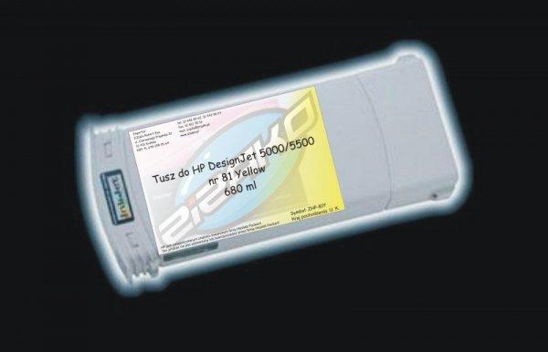 Tusz zamiennik Yvesso nr 81 do HP Designjet 5000/5500 680 ml Yellow C4933A