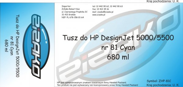 Tusz zamiennik Yvesso nr 81 do HP Designjet 5000/5500 680 ml Cyan C4931A