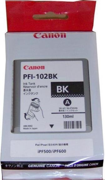 Tusz CANON PFI-102BK 130 ml black do IPF500/510/600/605/610/650/655/710/720/750/755/760/765 LP17/24