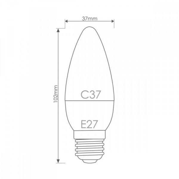 Whitenergy Żarówka LED 7 diod SMD2835 C37 E27 3W 200lm 230V ciepła biała mleczna