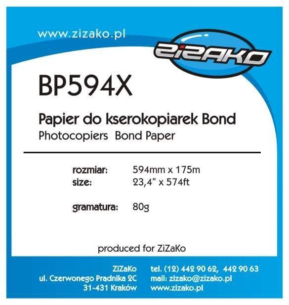 Papier w roli do ksero Yvesso Bond 594x175m 80g BP594X