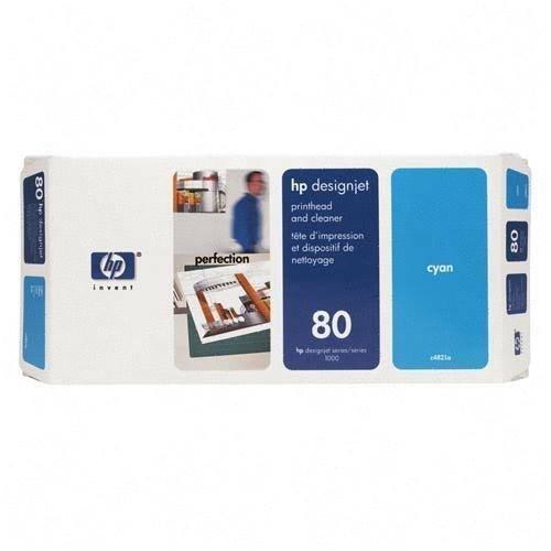 Głowica (Printhead) HP 80 cyan + Gniazdo czyszczące (Printhead cleaner) cyan do DnJ 1050C/1055CM - C4821A