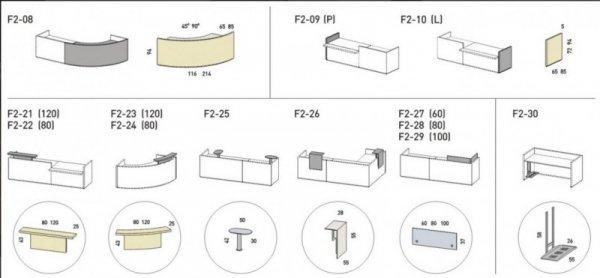 LADA RECEPCYJNA FURONTO CZARNA LAKIER POŁYSK 2F2-03 + F2-09 + F2-10 + F2-05 + F2-21