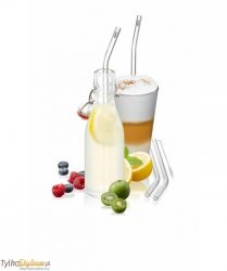 Gefu - Zestaw 4 słomek szklanych 23cm FUTURE