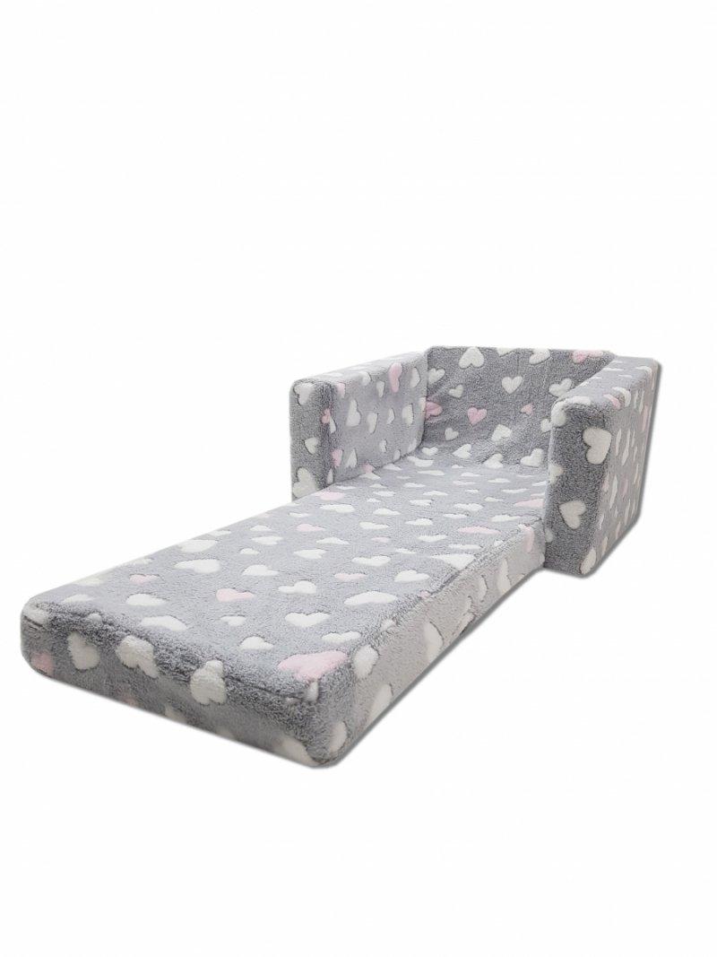 Fotel rozkładany dla dzieci- SZARY RÓŻOWE SERDUSZKA