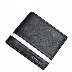 SAMMONS Skórzany krótki męski portfel czarny