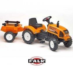 Falk Duży traktorek Renault Celtis 436RX Pomarańczowy z otwieraną maską + Przyczepka