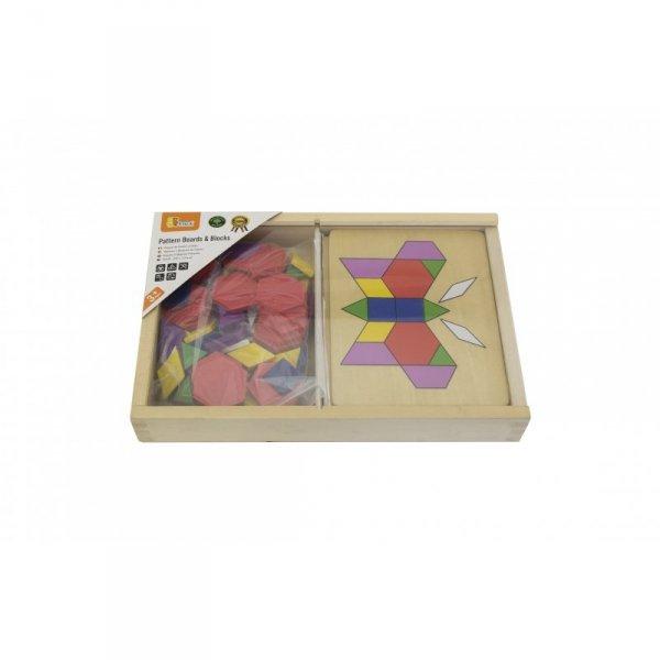 Drewniana Mozaika Geometryczna Viga Toys Układanka Logiczna Klocki 148 el