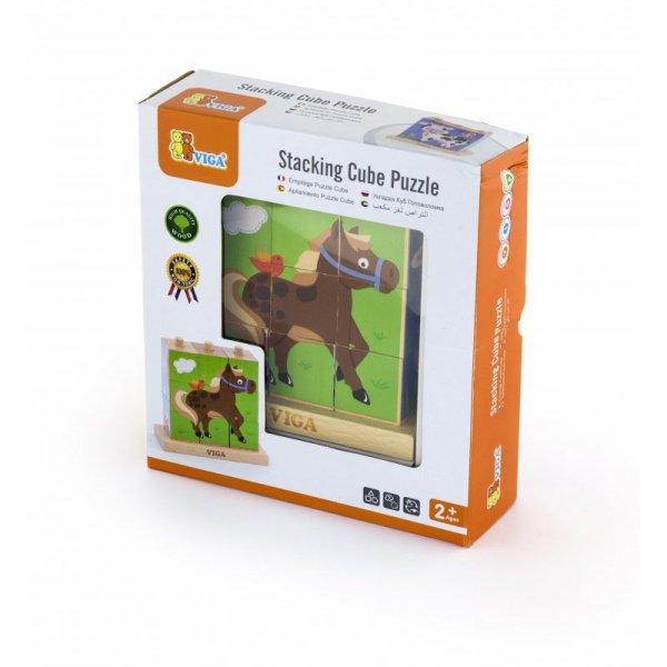 Drewniana Układanka Logiczna Puzzle Edukacyjne Viga Toys Farma 9 elementów