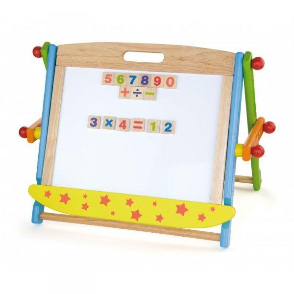 Drewniana tablica magnetyczna Dwustronna + magnetyczne cyferki i znaki Viga Toys