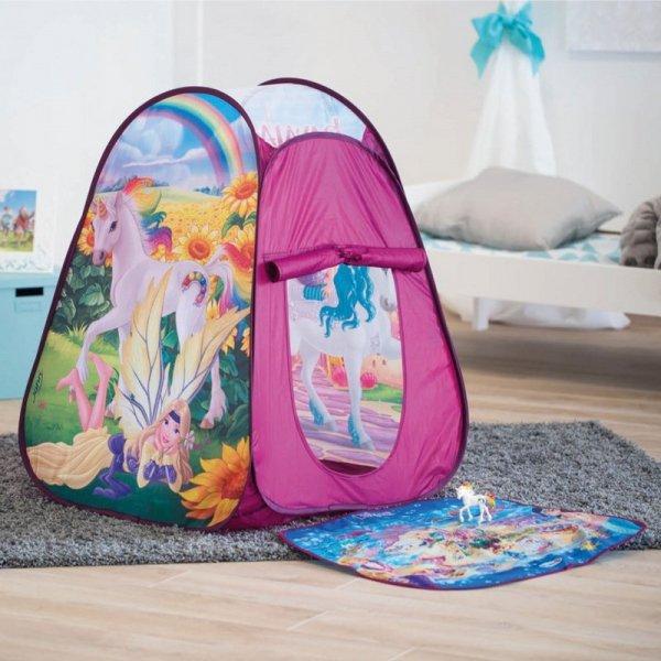 NAMIOT Domek dla dzieci z dywanem i figurką Jednorożca Bayala John Schleich