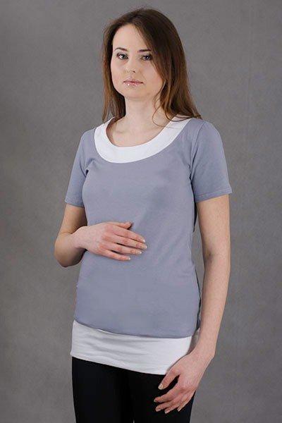 Dwukolorowa bluzka ciążowa z krótkim rękawem 1286