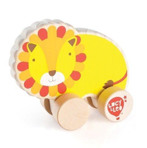 Drewniany lew na kółkach dla malucha #T1