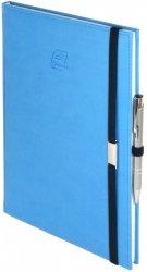 Notes A4 z długopisem zamykany na gumkę z blaszką - papier biały w kratkę - oprawa Vivella niebieska (gumka granatowa)