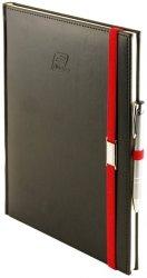 Notes A5 z długopisem zamykany na gumkę z blaszką - papier biały w kratkę ***** oprawa Vivella czarna (gumka czerwona)
