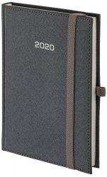 Kalendarz książkowy 2020 A4 dzienny papier biały perforacja oprawa ROSSA zamykana na gumkę srebrna