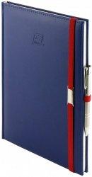 Notes A5 z długopisem zamykany na gumkę z blaszką - papier biały w kratkę - oprawa Vivella granatowa (gumka czerwona)