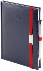 Notes A4 z długopisem zamykany na gumkę z blaszką - papier biały w kratkę - oprawa Nebraska granatowa (gumka czerwona)