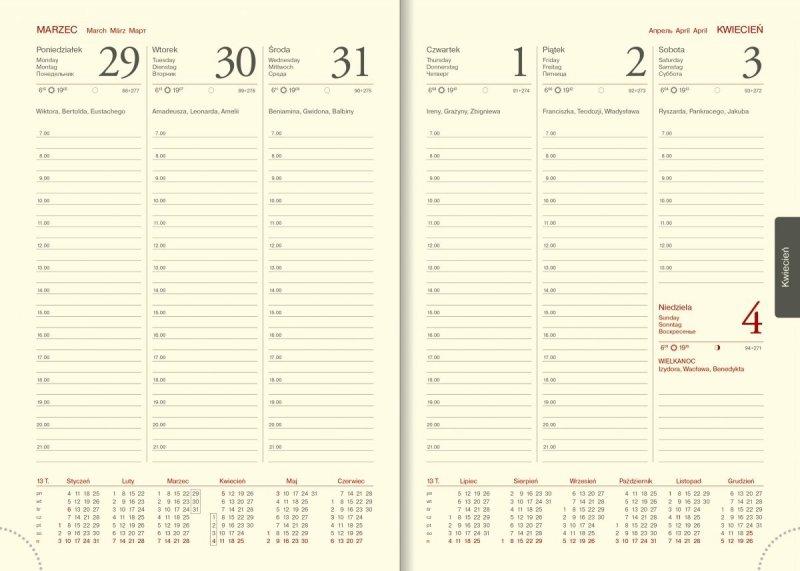 Kalendarz książkowy na rok 2021 format A5 tygodniowy papier chamois drukowane registry - kalendarium 2021
