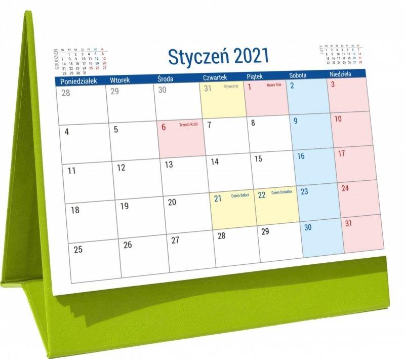 Kalendarz biurkowy stojący na podstawce PLANO 2021 seledynowy