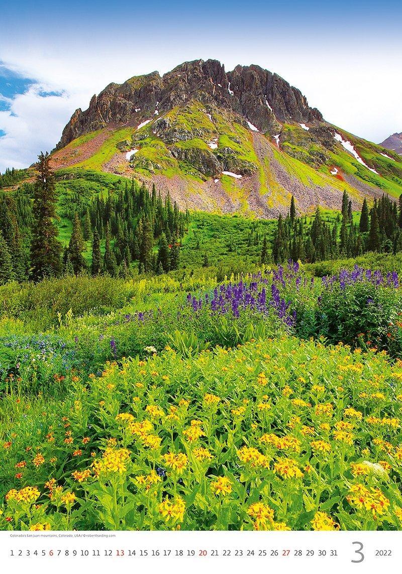 Kalendarz ścienny wieloplanszowy Mountains 2022 - marzec 2022
