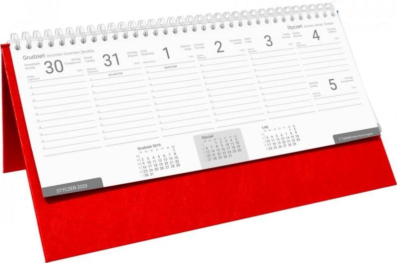 Kalendarz biurkowy stojąco-leżący BUSINESS LINE oprawa Agora kolor czerwony