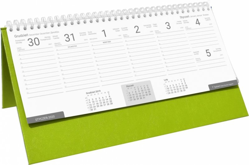 Kalendarz biurkowy stojąco-leżący BUSINESS LINE oprawa Agora kolor seledynowy