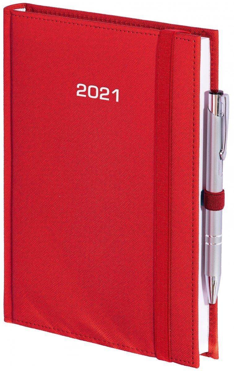 Kalendarz książkowy 2021 B5 tygodniowy oprawa ROSSA zamykana na gumkę czerwona