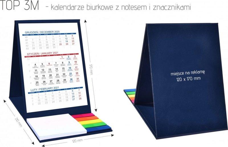 Wymiary kalendarza biurkowego z notesem i znacznikami TOP 3-miesięczny 2021 czerwony