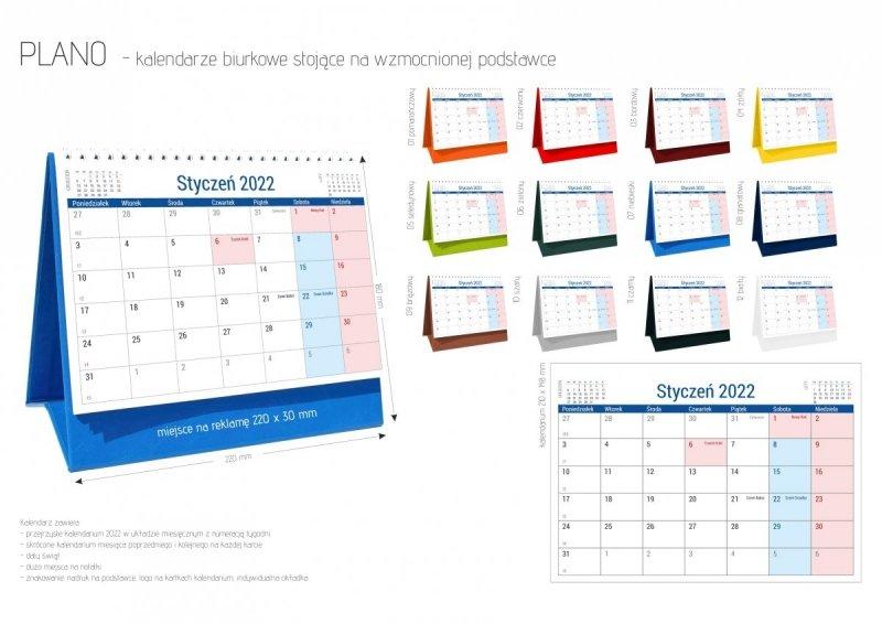 Kalendarz na biurko stojący PLANO na rok 2022 - oferta katalogowa