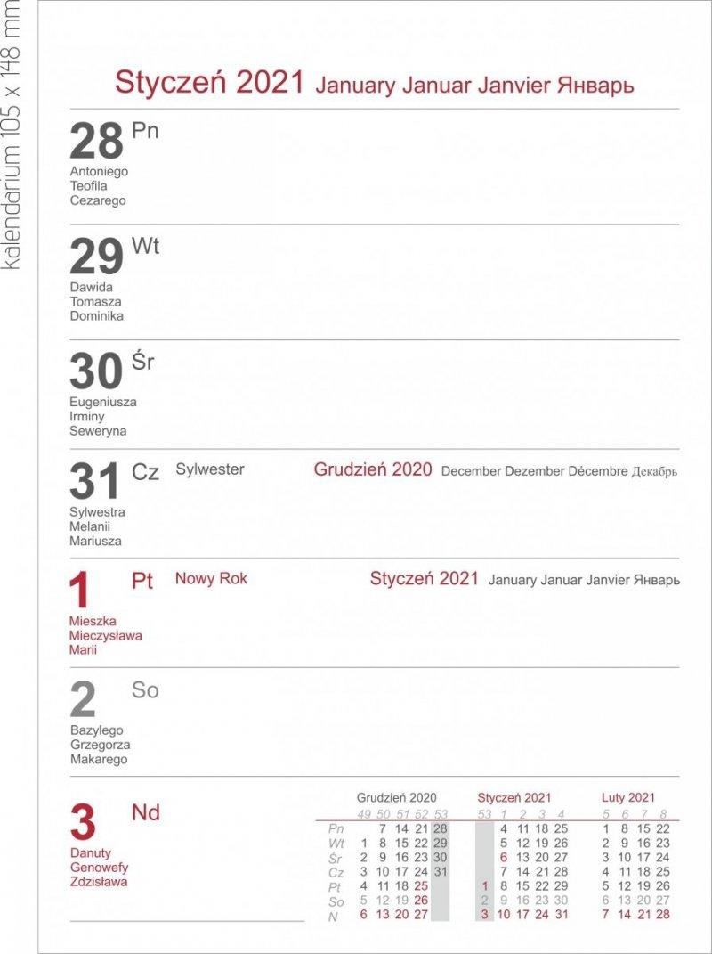 Kalendarz biurkowy z notesem i znacznikami TOP tygodniowy 2021 - KALENDARIUM