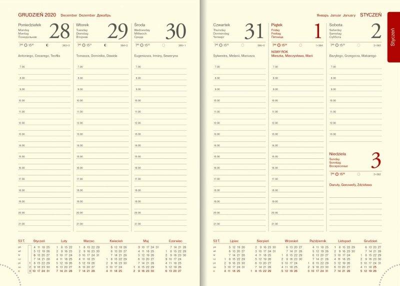 Blok kalendarza na rok 2021 papier chamois z drukowanymi registrami druk szaro-bordowy