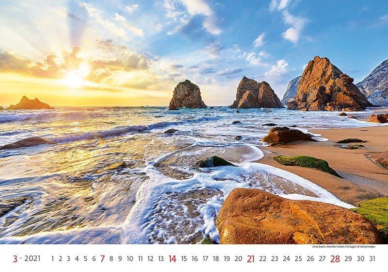 Kalendarz ścienny wieloplanszowy Sea 2021 - marzec 2021