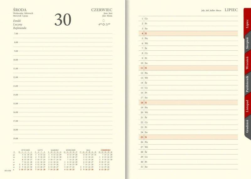 Kalendarium dzienne papier chamois wycinane registry planer przed każdym miesiącem