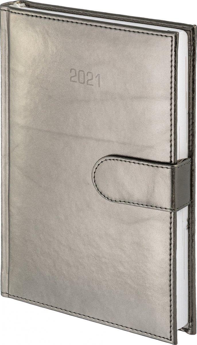 Kalendarz książkowy 2021 A4 dzienny oprawa MAGNESIAN - srebrny oprawa skóropodobna zamykana na magnes