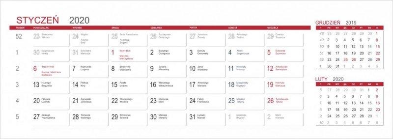 Kalendarz biurkowy stojący POZIOMY 3-MIESIĘCZNY 2020 - kalendarium