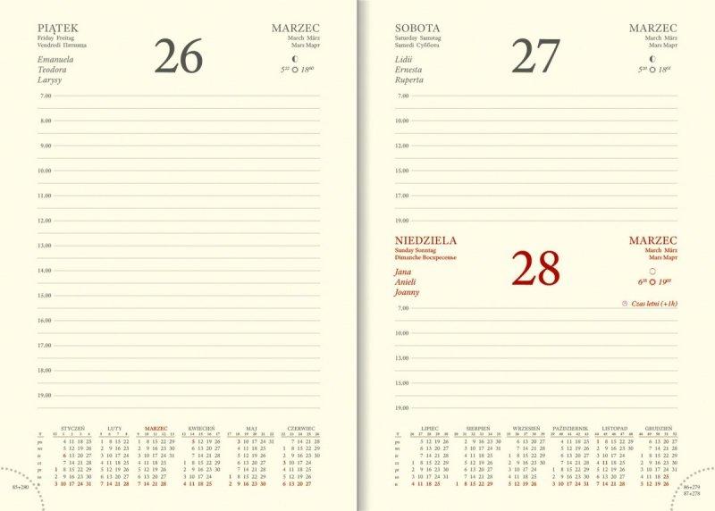Kalendarium dzienne papier chamois drukowane registry