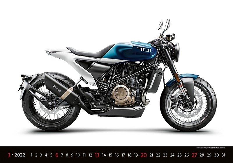 Kalendarz ścienny wieloplanszowy Motorbikes 2022 - marzec 2022