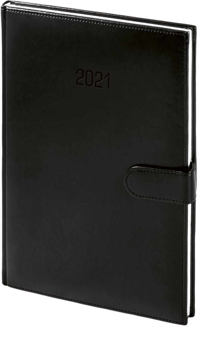 Kalendarz książkowy 2021 A4 tygodniowy papier biały drukowane registry oprawa MAGNESIAN - czarny oprawa skóropodobna zamykana na magnes