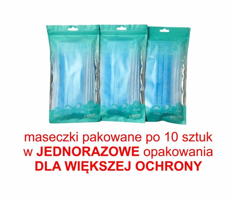 Maseczka ochronna 3-warstwowa jednorazowa bezpieczne opakowanie