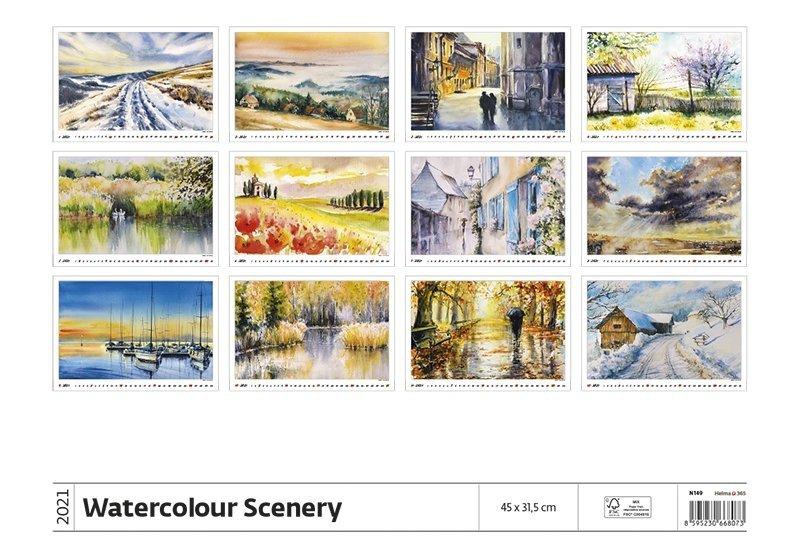 Kalendarz ścienny wieloplanszowy Watercolour Scenery 2021 - tylna okładka