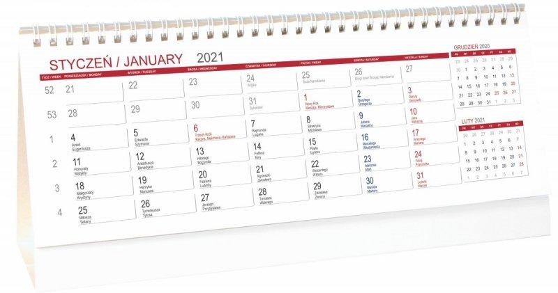 Kalendarz biurkowy stojący POZIOMY 3-MIESIĘCZNY 2021 - kalendarium