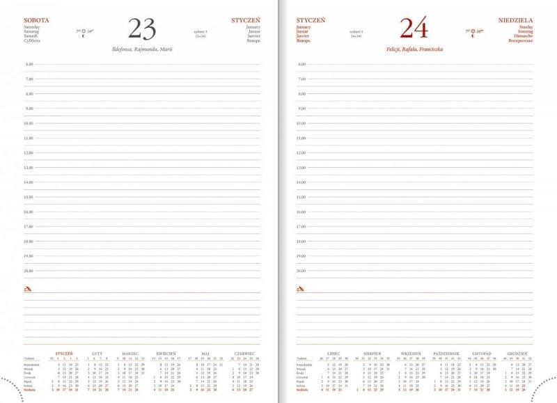 Kalendarz z sobotą i niedzielą na osobnych stronach