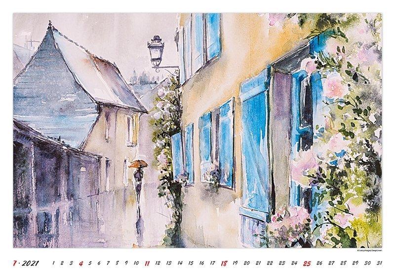 Kalendarz ścienny wieloplanszowy Watercolour Scenery 2021 - lipiec 2021