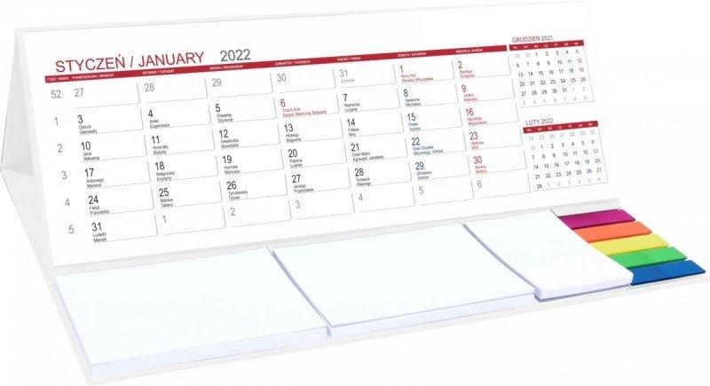 Kalendarz biurkowy stojący na rok 2022 z podstawką białą