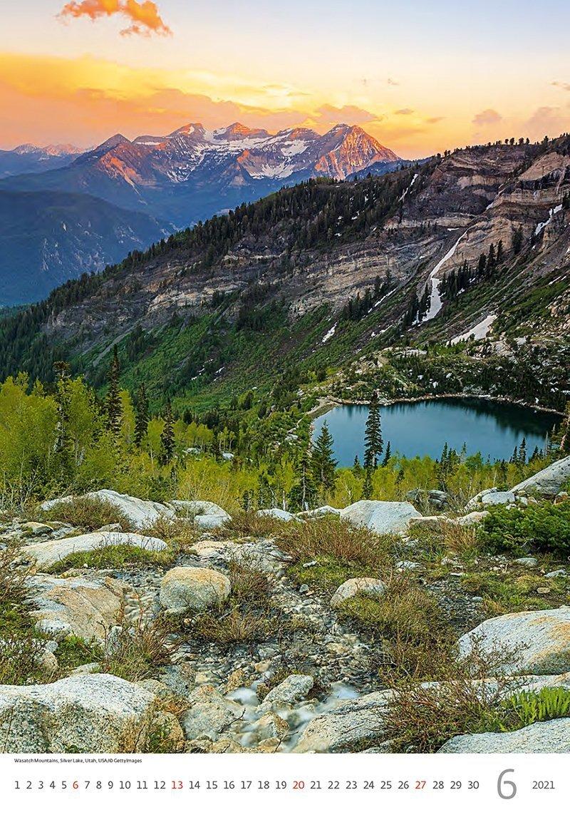 Kalendarz ścienny wieloplanszowy Mountains 2021 - czerwiec 2021