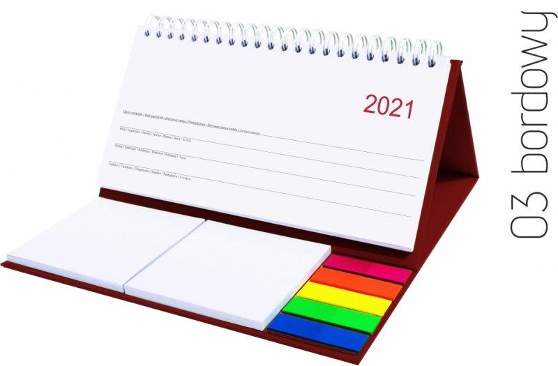 Kalendarz biurkowy z notesami i znacznikami MIDI TYGODNIOWY 2021 bordowy