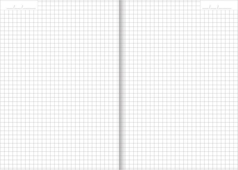 Notes A5 papier biały w kratkę z miejscem na datę - przykładowa kartka z notatnika